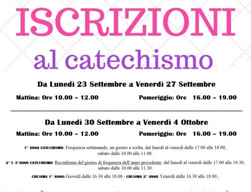 Apertura Iscrizioni Catechismo Anno Pastorale 2019/2020