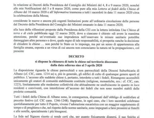 Decreto del vescovo Semeraro del 12.03.2020