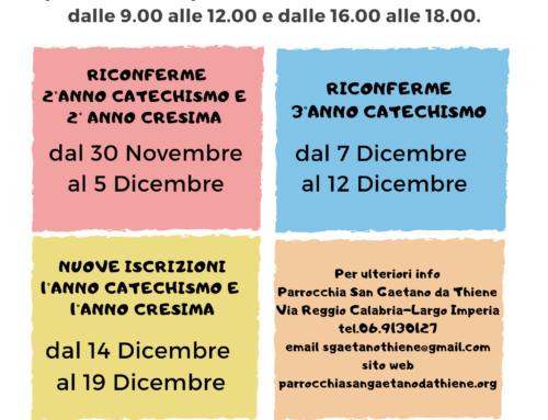 Iscrizioni Catechismo Prima Comunione e Cresima Ragazzi